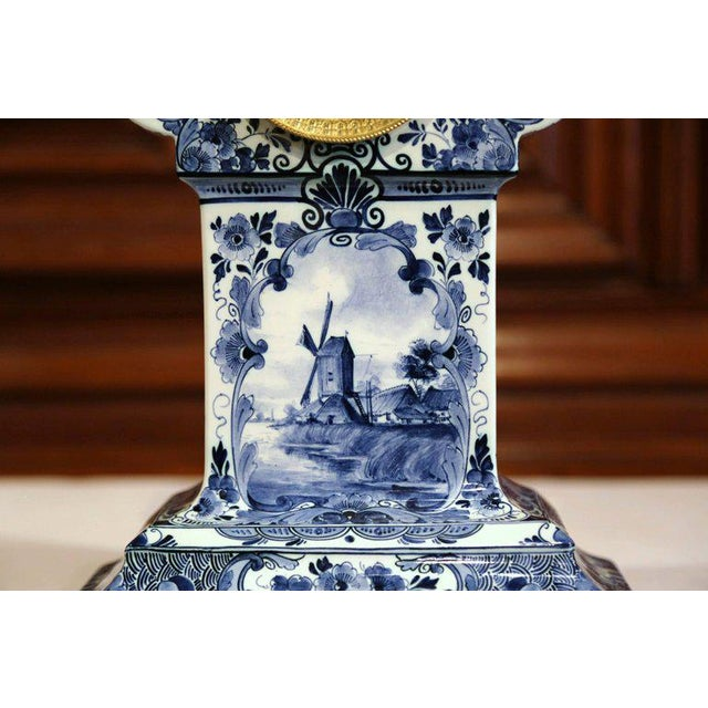 Blue Early 20th Century Dutch Hand-Painted Blue and White Faience Delft Mantel Clock For Sale - Image 8 of 13