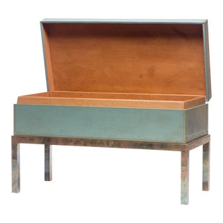 "Lawrence & Scott Hand-Painted Pine Green ""Regalia"" Leather Box on Patina Brass Stand For Sale"