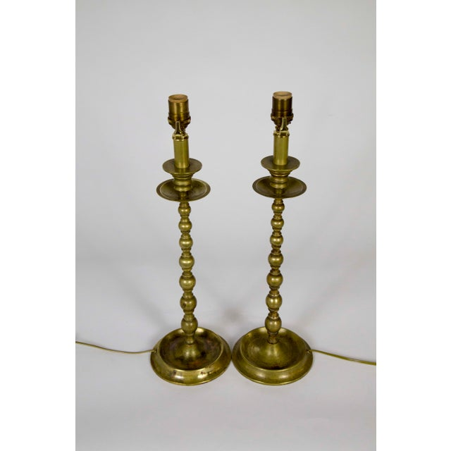 American Early 20th C. American Colonial Brass Candlestick Lamps - a Pair For Sale - Image 3 of 9