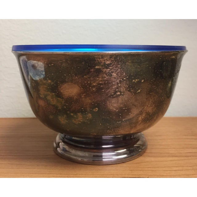 Wilcox Silver Plate Co. Webster Wilcox Blue Lined Silver Plate Bowl For Sale - Image 4 of 7
