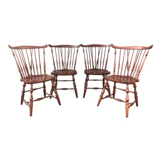 Pennsylvania House Cherry Fan Back Windsor Chairs - Set of 4 For Sale