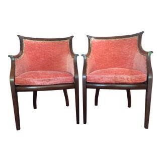 Upholstered Wood Barrel Chairs - a Pair