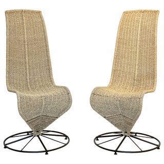 Marzio Cecchi 1970s Italian Black Lacquered and Beige Wicker Rope Chairs - a Pair For Sale