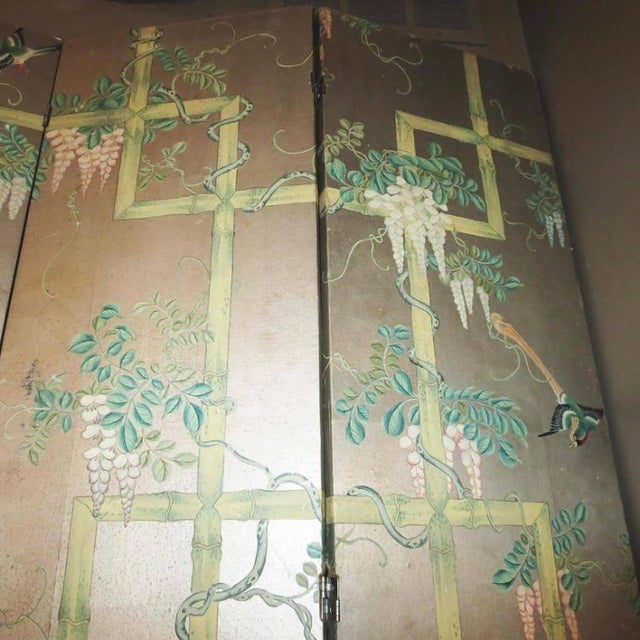 19th Century Four - Panel Painted Screen of Birds and Bamboo For Sale In Los Angeles - Image 6 of 9