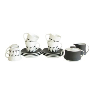 Vintage Graphic Studio Coffee Tea Service Set With Black White Design - 14 Pieces For Sale