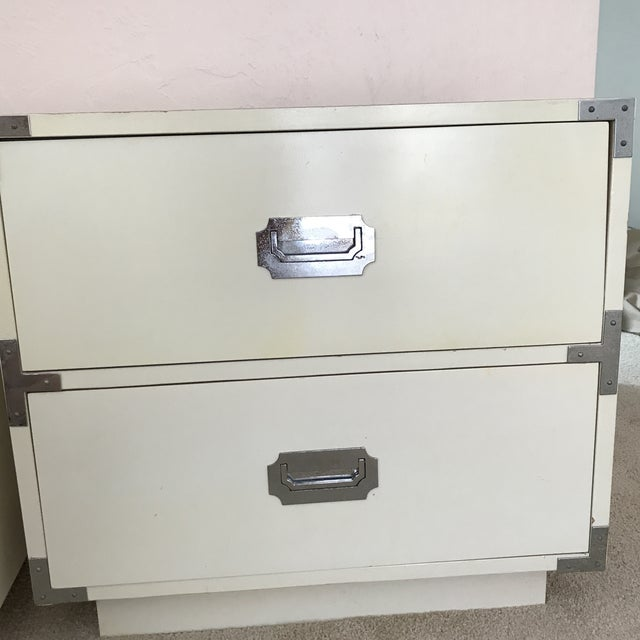 Vintage Dixie Campaign Hollywood Regency Nightstands - a Pair For Sale - Image 9 of 12