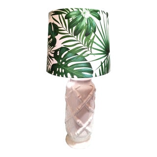 Vintage Ceramic White Faux Bamboo Palm Leaf Print Table Lamp For Sale