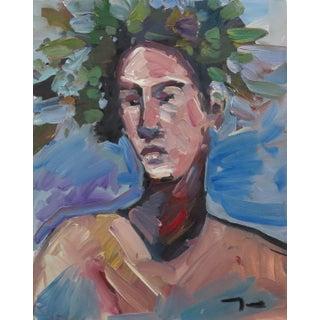 Jose Trujillo Large Expressionist Portrait Original Laurel Wreath Figure Painting For Sale