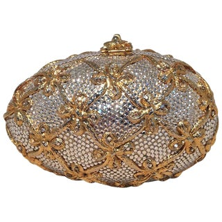 Judith Leiber Swarovski Crystal Clear and Gold Faberge Egg Minaudiere For Sale
