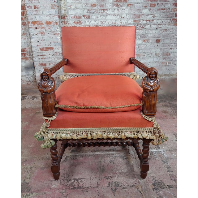 19th Century Baroque Red Upholstered Walnut Hall Chair For Sale - Image 4 of 8
