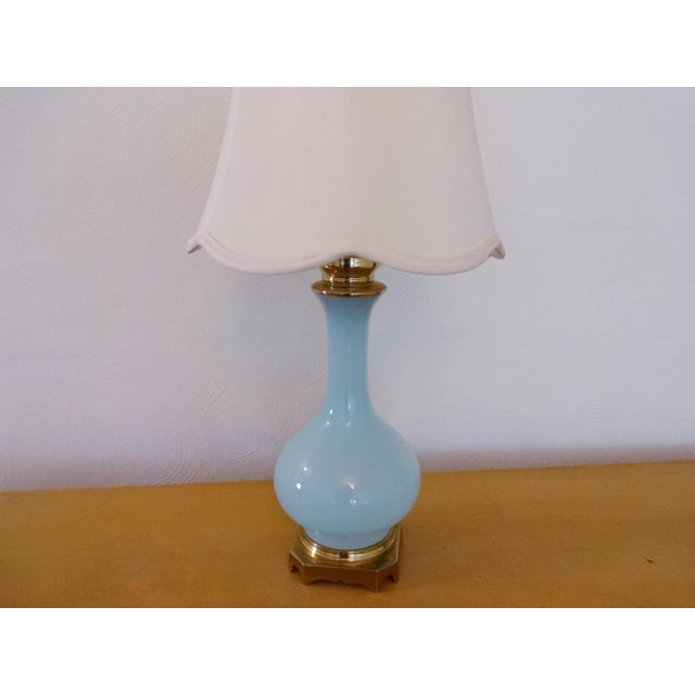 Art Nouveau Vintage Paul Hanson Opaline Glass and Brass Lamp For Sale - Image 3 of 8