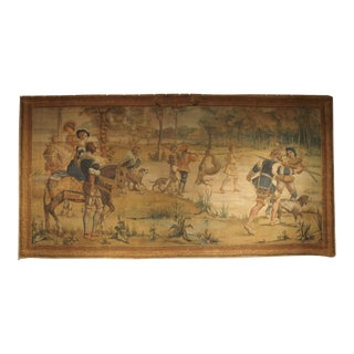 Massive Antique Italian Painted Canvas of a Hunt Scene, 19th Century For Sale