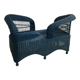 Vintage Wicker Tete-A-Tete For Sale