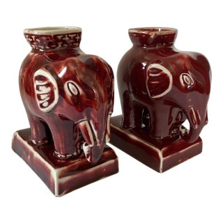 Maitland Smith Oxblood Red Elephant Vases- a Pair For Sale