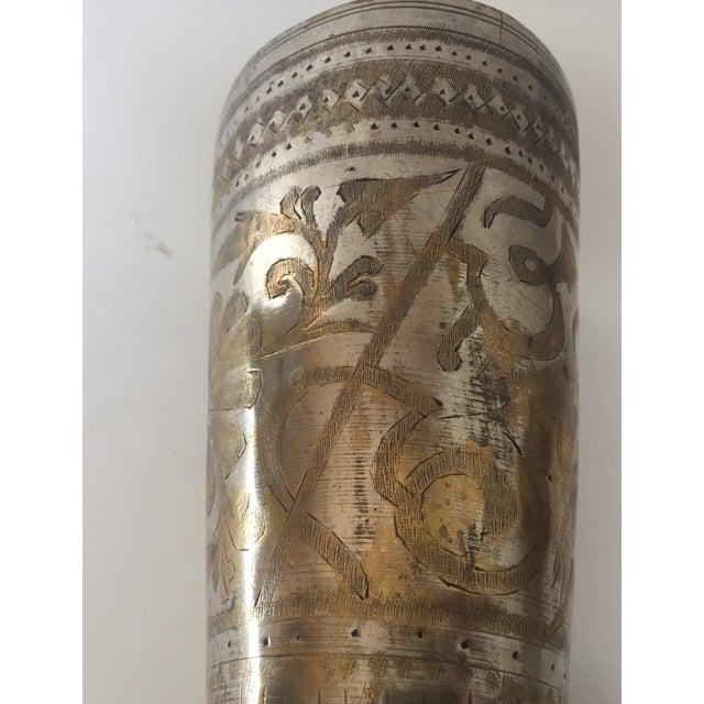 Metal Anglo Raj Mughal Brass Engraved Beakers - Set of 2 For Sale - Image 7 of 12