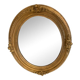 Italian Carved Giltwood Oval Mirror For Sale