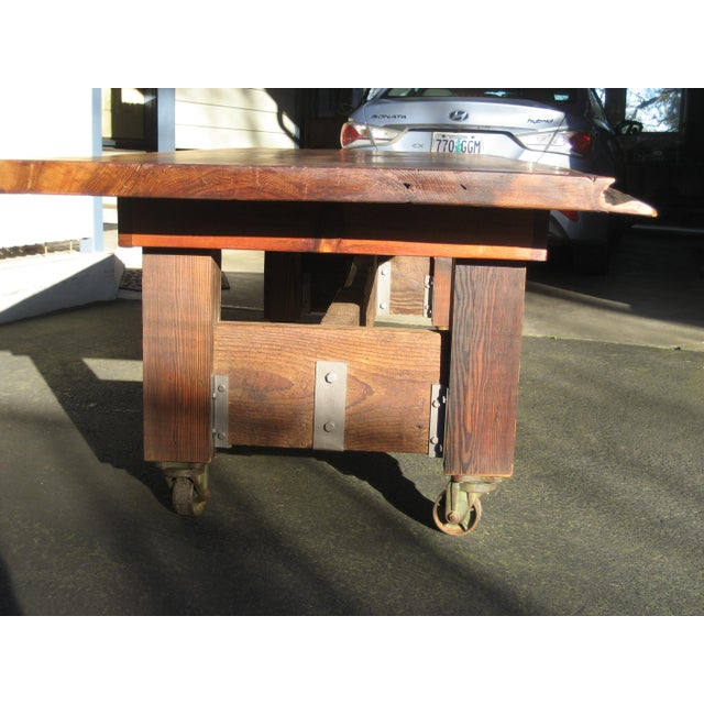 """Harvest Table, One of a Kind This is extraordinary sturdy table was hand built, inspired by a 2 1/2"""" thick Old Growth Red..."""