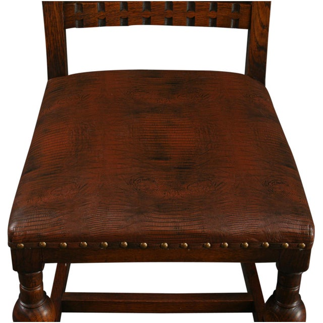 Vintage 1930 French Leather & Oak Dining Chair - Image 5 of 10