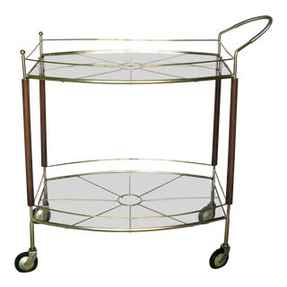 Mid-Century Brass & Wood Bar Cart