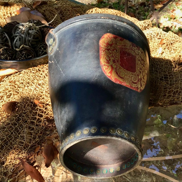 Animal Skin Leather Fire Bucket With Brass Rivets and Crest For Sale - Image 7 of 11