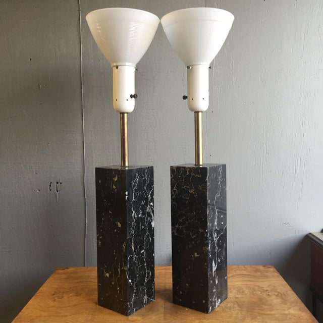 Mid Century Modern Marble Lamps by Nessen - a Pair - Image 4 of 7