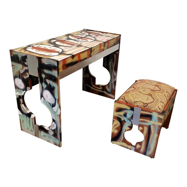Graffitied Artist Painted 1970s Desk or Vanity - a Pair For Sale - Image 9 of 9