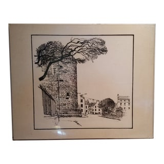 Vintage Scottish Lithograph of the Bishop's Place For Sale
