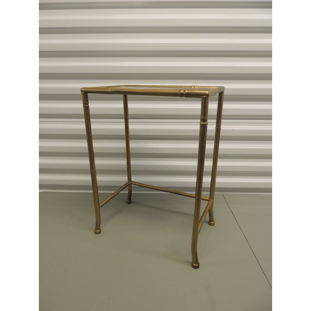 Small Metal gold phone table with glass inset top - Image 2 of 4