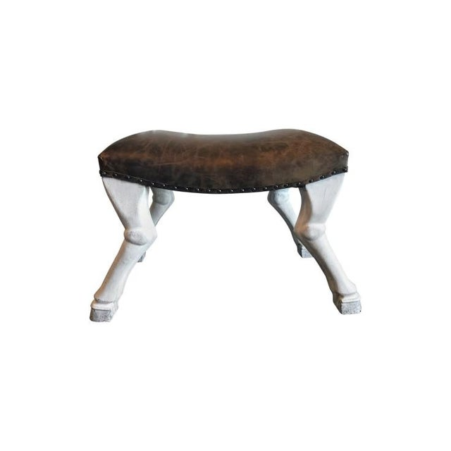 Noir Goat Leg Leather Upholstered Stool For Sale - Image 4 of 7