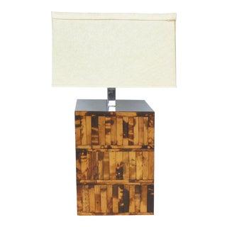 Mid-Century Chrome & Rattan Table Lamp For Sale