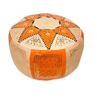 Fes Orange Leather Pouf For Sale