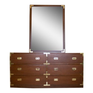 Mid Century Low Boy Campaign Dresser with Detachable Mirror