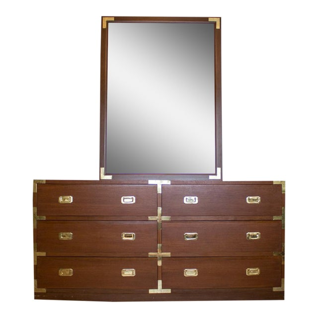 Mid Century Low Boy Campaign Dresser with Detachable Mirror For Sale