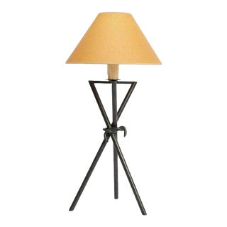 1980s Postmodern Knotted Metal Tripod Table Lamp