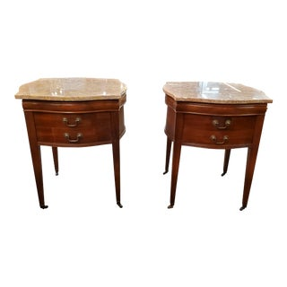 Antique Marble Top Mahogany Nightstands - A Pair For Sale