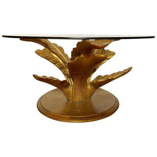 Hollywood Regency Style Decorative Gilt Leaf Base With Glass Top Coffee Table For Sale