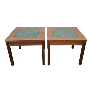 John Keal Brown Saltman Walnut Copper Enamel Side Tables - a Pair