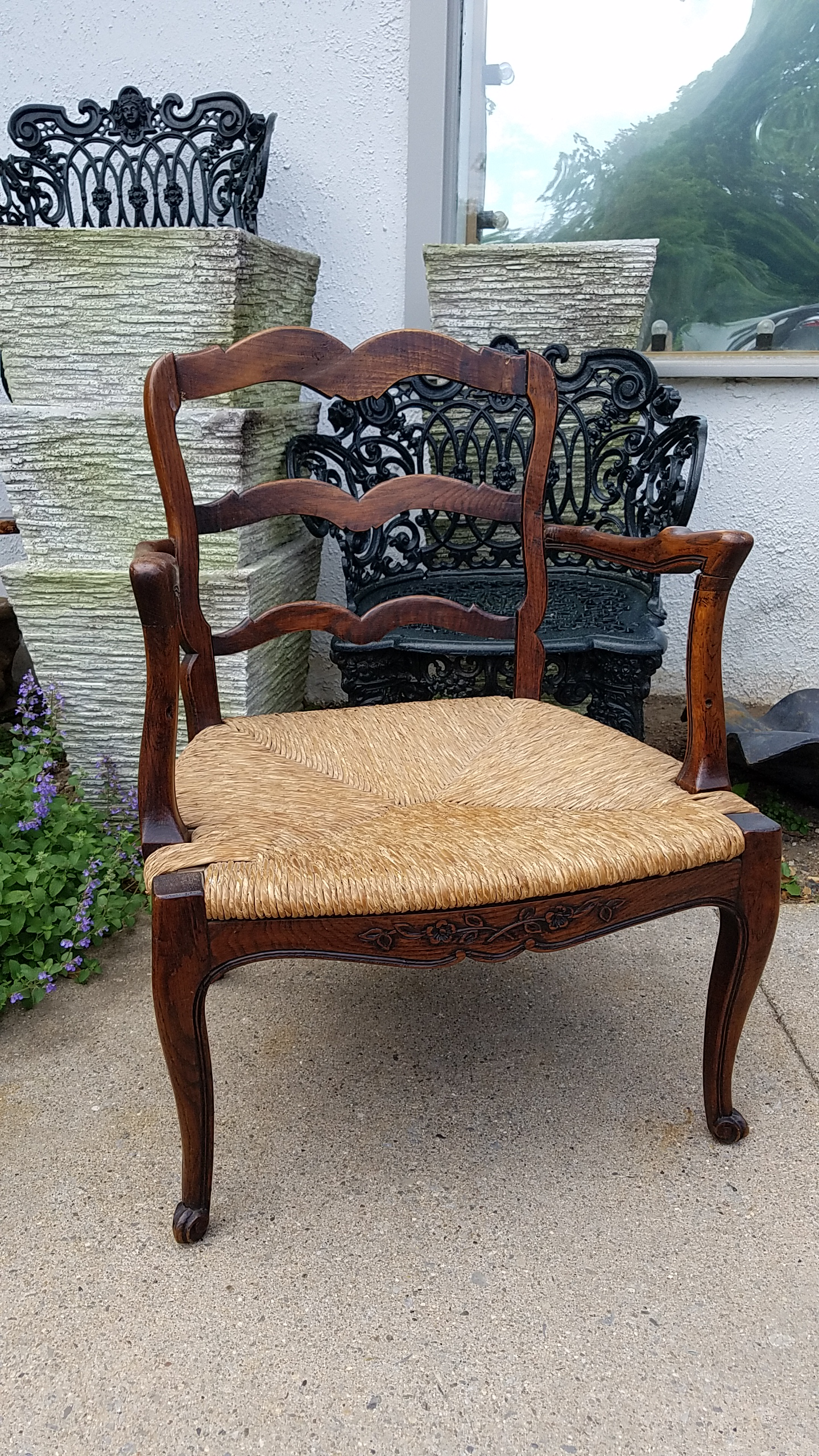 French Antique Ladderback Arm Chair With Cane Seat   Image 2 Of 6