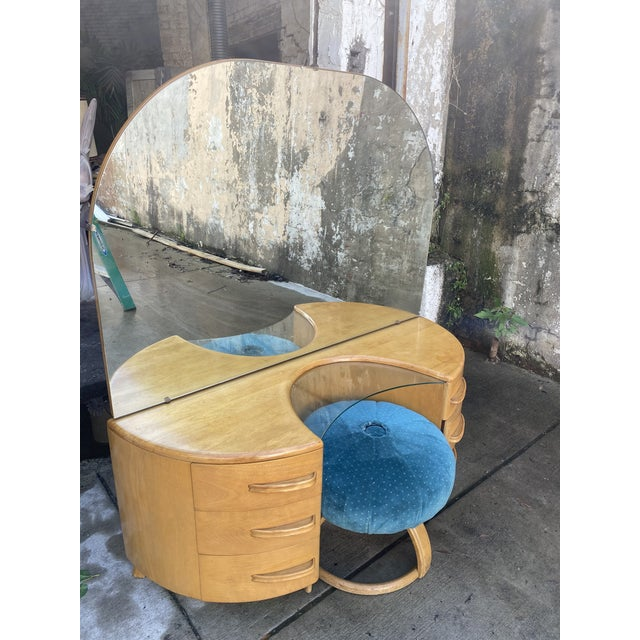 1950s Heywood WakeField Curved Vanity & Matching Stool - 2 Pieces For Sale - Image 5 of 11