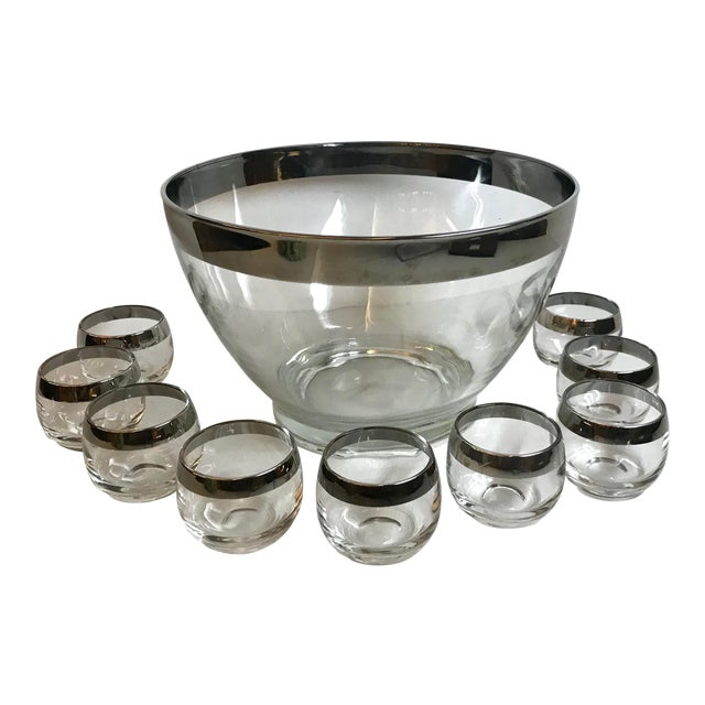 Vintage Dorothy Thorpe Glass Silver Band Punch Bowl Set- 10 Pieces For Sale