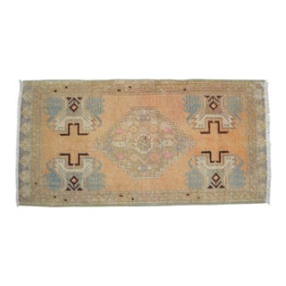 Distressed Low Pile Rug Turkish Yastik Petite Rug Faded Mat - 18'' X 37'' For Sale