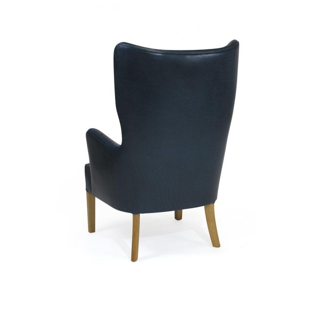 Wood 1946 Ole Wanscher for Fritz Hansen Highback Chair in Teal Leather For Sale - Image 7 of 10