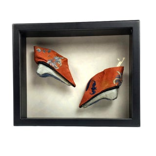 Antique Chinese Silk Embroidered Shoes in Glass Box For Sale