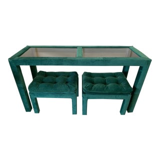 Upholstered Parsons Console Table With Matching Footstools For Sale