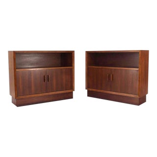 Vintage Mid-Century Walnut Two-Door Cabinets - A Pair For Sale