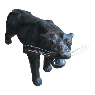 1970s Vintage Leather Wrapped Panther Figure For Sale