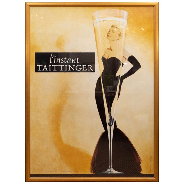 """Brown Oversized """"I' instant Taittinger"""" Champagne Poster For Sale - Image 8 of 8"""