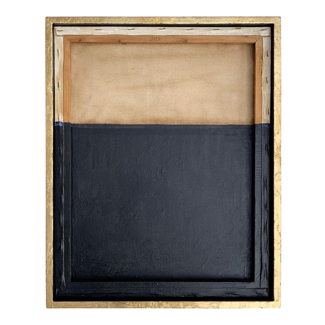 Minimal Abstract Black and Tan Framed Painting For Sale