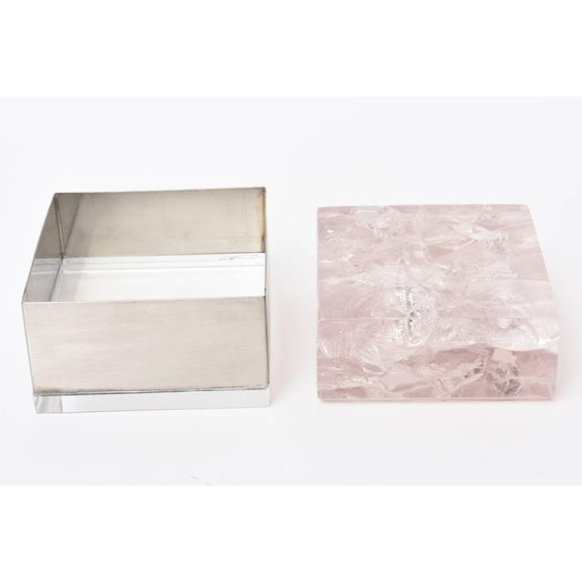 Pierre Giraudon Embedded Lucite and Stainless Steel Boxes-A Pair For Sale In Miami - Image 6 of 11