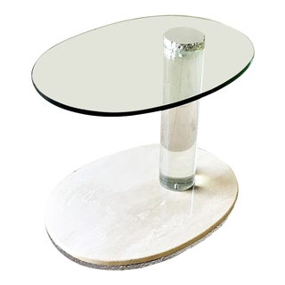 Lion in Frost Style Faux Travertine and Lucite Side Table 1980s For Sale